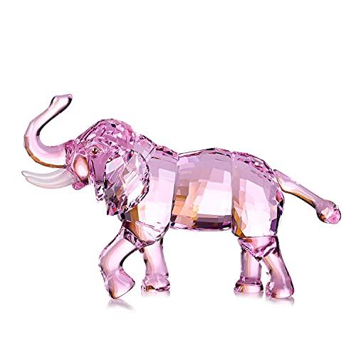 Cristal Afortunado Elefante estatuilla colección Ornamento Estatua Animal Alta Gama cumpleaños víspera Navidad cumpleaños Regalos cumpleaños para la Oficina de la Novia decoración del hogar,Rosado