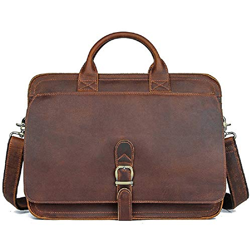 J.M.D Men's Crazy Horse Leather Cross Body Briefcase Sling Bag Shoulder Messenger Bag Handbags Business Bag (Dark Brown)