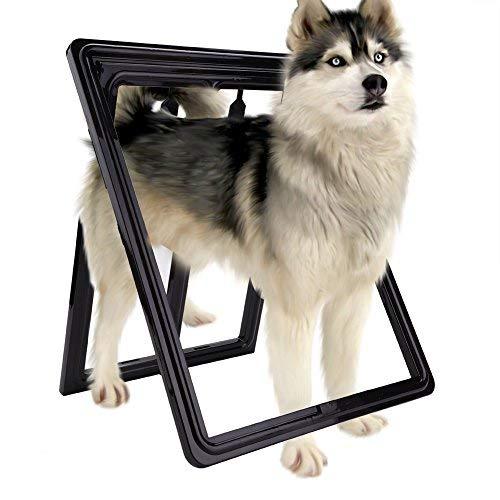 HEEPDD Katzentür, Kunststoff-Haustier-Bildschirm Tür Hundewelpe Katze Magnetische Verriegelung Sicher Klappe Tor für Bildschirm (Großes Schwarzes)