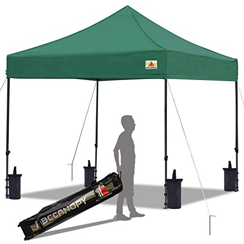 ABCCANOPY Pop up Canopy Tent Commercial Instant Shelter with Wheeled Carry Bag, Bonus 4 Canopy Sand Bags, 10x10 FT Forest Green