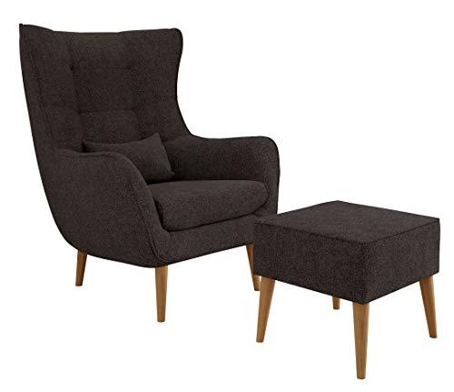 Mirjan24 Sessel Lucio, Polstersessel, Armsessel, Armchair, Relaxsessel, Fernsehsessel, Loungesessel, Top-Qualität Sitzmöbel, Ohrensessel (Alfa 09, mit Hocker)