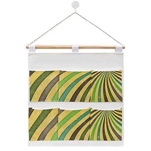 Groovy - Bolsa de almacenamiento para colgar en la pared, diseño de rayos de sol en espiral, con 6 bolsillos para la familia, baño, dormitorio, cocina