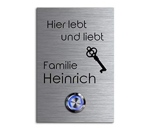 CHRISCK Design - roestvrij stalen deurbel met gravure naar wens LED-verlichting en motieven 8x12 cm belknop naam Model: Heinrich