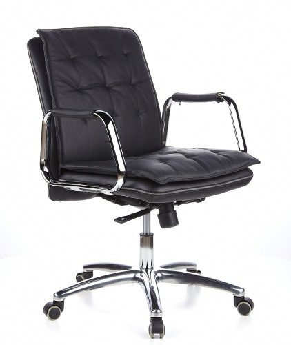 hjh OFFICE 600930 Chefsessel Villa 10 Leder Schwarz/Chrom hochwertiger Bürostuhl, mittelhohe Rückenlehne