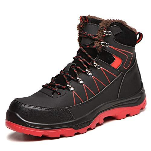 AHwjr Zapatos De Seguridad De Alto Nivel De Los Hombres, Anti-Aplastamiento Y Anti-Punción De Bolos De Tobillo Impermeable, Zapatos De Algodón Caliente De Invierno con Terciopelo,Plus Velvet,43