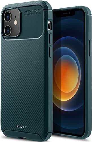 """StilGut Carbon Auto Focus kompatibel mit iPhone 12 Mini (5.4\"""") TPU Hülle im Carbon Design, TPU Cover, stoßfeste Handyhülle - Grün"""