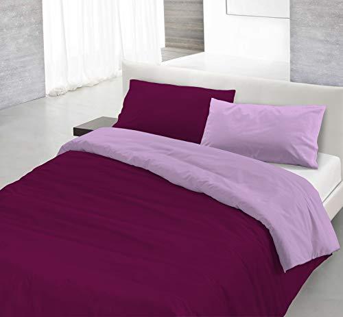 Italian Bed Linen Natural Color Parure Copri Piumino, 100% Cotone, Lilla/Prugna, Singolo, 2 unità