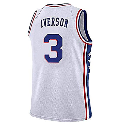 Mens Iverson Jersey Philadelphia 3 Basketball Jersey Allen Adult Sports Jerseys White(S-XXL) (XXL)