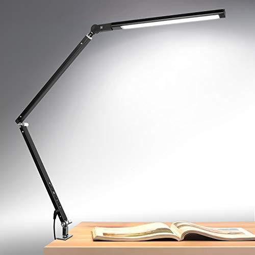 デスクライト デスクスタンド 電気スタンド 読書灯 クリップライト LED・学習・勉強 無段階調光/折り畳み式 省エネ 目に優しい… (ブラック, 単色)
