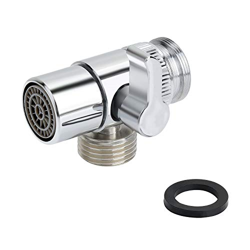Yizhet Brass Diverter for Kitchen or Bathroom Sink Faucet Valve Adapter Replacement Part M22 X M24 Connector for Handheld Bidet Hand Sprayer, Polished Chrome