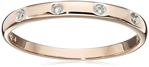 10k Rose Gold Diamond Accent Band, Size 9