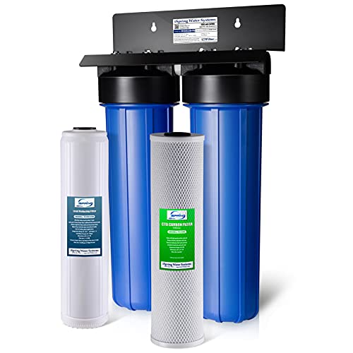 """iSpring WGB22B-PB 2-Stage Whole House Water Filtration System with 20"""" x 4.5 Carbon Block and Lead Reducing Filters"""