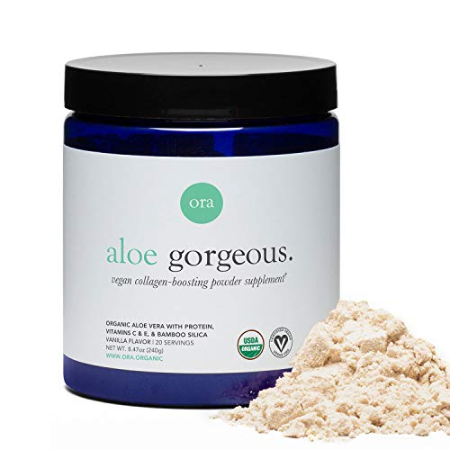 Ora Organic Vegan Collagen-Boosting Powder for Women and Men - Hair, Skin, Nails Support - Bamboo Silica, Plant-Based Protein, Organic Vitamin C, Aloe Vera - Vanilla Flavor, 20 Servings