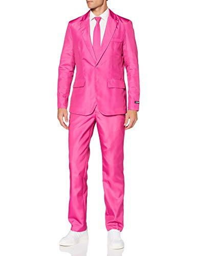 Suitmeister Men Suit Ensemble de Pantalon de Costume d'affaires, Rose uni, XL Homme