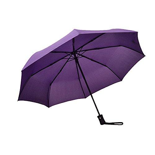 Naerde durevole Umbrella Auto Apri e Chiudi Compact Folding ombrello antivento Umbrella maniglia facile per le donne e gli uomini (viola)