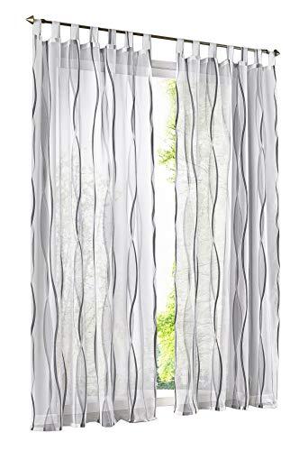 BAILEY JO 1er-Pack Gardinen mit Wellen Druck Design Vorhang Transparent Voile Vorhänge (BxH 140x145cm, grau mit schlaufen)