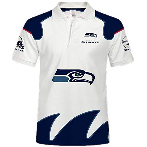 Kasonj NFL Unisex Amerikanisch Fußball Poloshirt - Trikot Logo Kurzarm Sweatshirt American Football Polo Hemd(Seattle Seahawks 5XL)