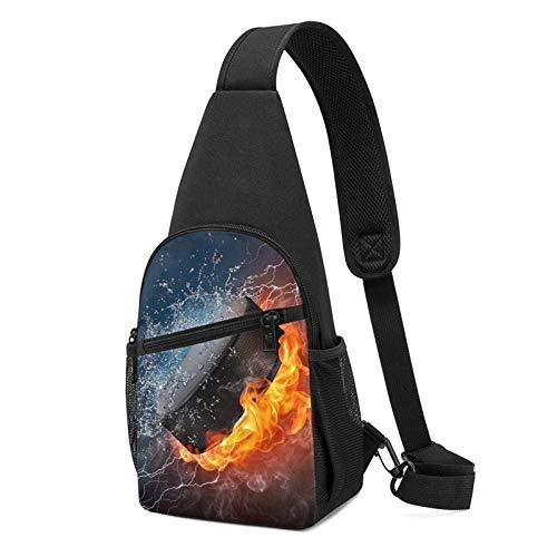 XCNGG Fire And Ice Speaker Printed Sling Backpack,Lightweight Shoulder Chest Backpack Travel Hiking Bag Crossbody Shoulder Bag