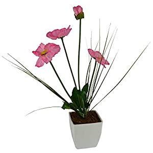 TheIndian Decor & Attire Artificial Flower Poppy Grass (35 cm/ 14 inchs) with Square White Pot-1661