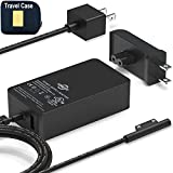 Surface Pro Surface Laptop Charger [UL Listed] 65W Power Adapter Compatible with Microsoft Surface Pro X Pro 7 Pro 6 Pro 5 Pro 4 Pro 3 Surface Laptop 1 2 3 Surface Go 1 2 Surface Book and Travel Case