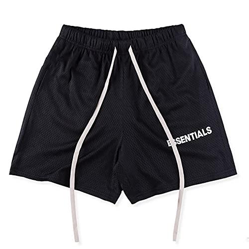 IFYG Verano de los hombres de doble línea alta calle deportes pantalones cortos casual marca de moda fitness flojo cinco puntos pantalones M negro