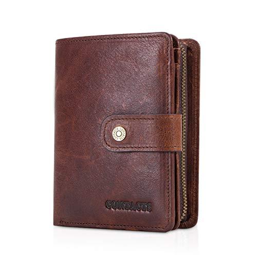 FANDARE Mode Geldbörse Herren mit RFID Kurz Geldbörse Brieftasche Portemonnaie Leder Geldbeutel mit 12 * Kreditkartenfächern, 1*Münzfach, für Reise, Party, Hochzeit, geschäft Braun Dunkelbraun