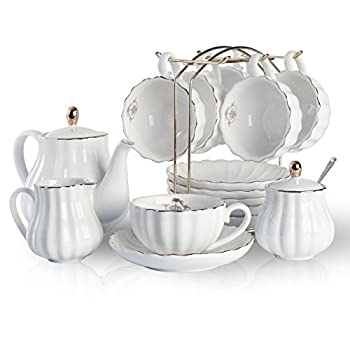 Porcelain Tea Sets British Royal Series 8 OZ Cups& Saucer Service for 6 with Teapot Sugar Bowl Cream Pitcher Teaspoons and tea strainer for Tea/Coffee Pukka Home  Pure White