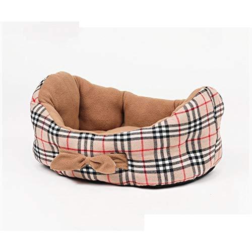WYJW Reines Baumwoll-Plaid-Hundebett in Bootsform, weiches und bequemes eingebautes Kissen (auf beiden Seiten erhältlich), erhältlich in Allen Jahreszeiten M: 60 x 45 cm 米色