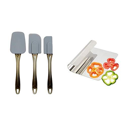AmazonBasics Espátulas de silicona - Set de 3 piezas + Metaltex Recogedor Cortador Verduras, centimeters