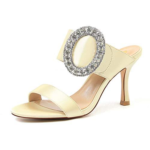 JOEupin Elegantes sandalias para mujer con punta de punta y tacón bajo Slip On Mules Slide Sandals Kitten Shoes Dorado Size: 37 EU