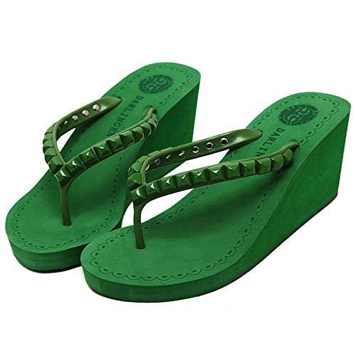 Slim Zehentrenner,Classic Unisex-Erwachsene Flip Flops,Hang mit Flip Flops, äußere Hausschuhe-grün_36