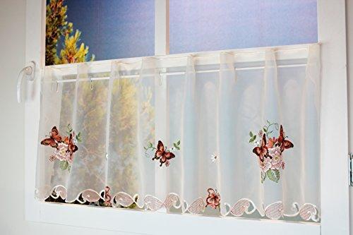 Kamaca Serie Lovely Butterflies bestickte Schmetterlinge und Blumen halbtransparent Küchengardine Panneaux EIN Schmuckstück in jeder Küche (Bistrogardine 45x150 cm)
