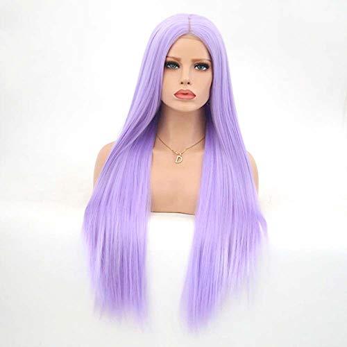 Européenne et américaine de mode lavande avant de lacet longue ligne droite mi-longue crochet perruque de couleur à la main respirante Perruques Femme XXYHYQHJD