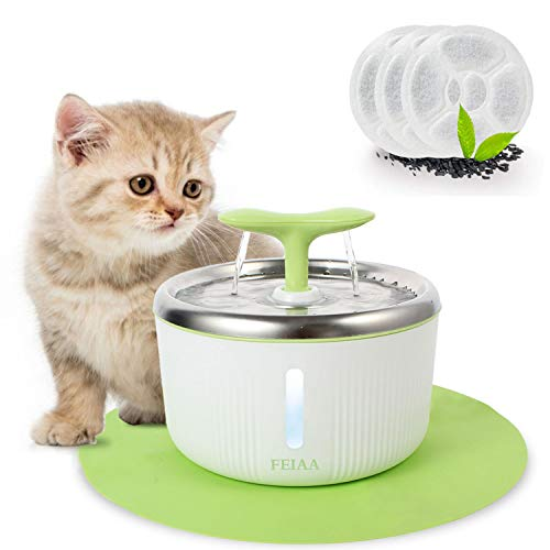 FEIAA Cat Water Fountain Stainless Steel Pet Waterfall Dispenser Automatic Kitty Dog Drinking Fountains Bowl with LED Indicator
