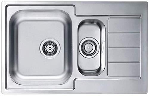 VBChome - Lavello da incasso con foro per rubinetto destro, 790 x 500 mm, struttura satinata Alveus Line 70, in acciaio inox, per campeggio 1,5 vasche