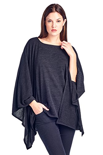 Modern Kiwi Solid Knit Sweater Caftan Poncho Tunic Black One Size
