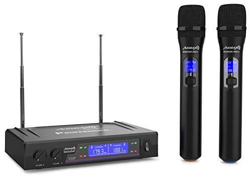 Audibax - Missouri 2000 - Micrófono de Mano Inalámbrico VHF - Set de 2 Micrófonos de Mano con Display - Rango de Cobertura 80 metros - Interruptor On/Off y Mute - Rango A - Pilas Tipo AA - 230 V