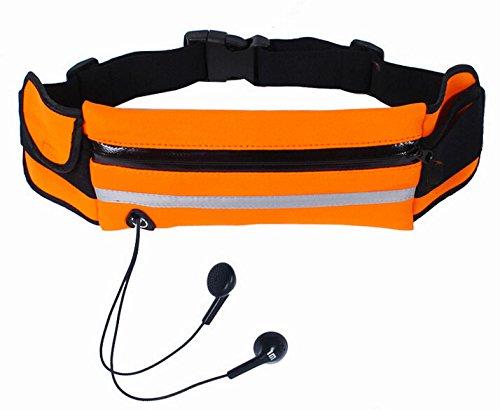 Hivel Portable Impermeable Sac Banane de Sport avec Ecouteur de Trou Resistant a l'eau / a la sueur Fermeture Eclair Sacoche Etanche Ceinture Pochette - Orange