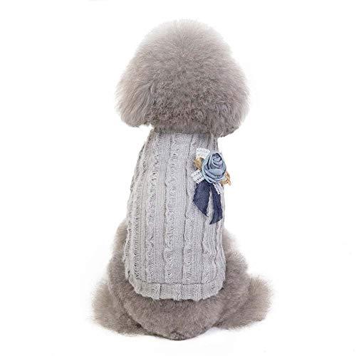 KSITH huisdier hond kleding gebreide warme trui dames Teddy herfst en winter koud weer trui, XL, Grijs