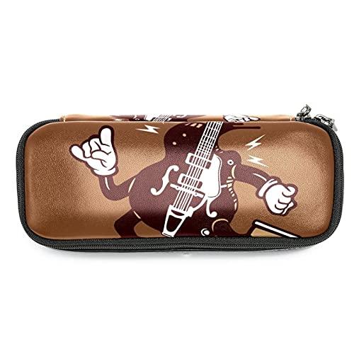 Estuche para lápices de gran capacidad Guitarra Scooter Marrón Almacenamiento de bolsa de lápiz de cuero para la oficina de la escuela, el mejor regalo para los niños 19x7.5x3.8cm