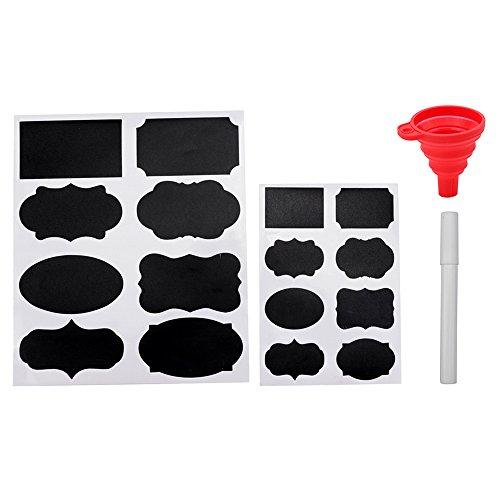 Lot de 96 étiquettes autocollantes étanches pour pots à épices avec 1 marqueur à craie et 1 entonnoir pliable en silicone