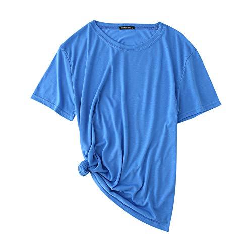 YANFANG Camiseta para Mujer Casual de Manga Corta con Cuello en V de Color sólido y Delgado Talla Grande Simple Moderno Informal Adolescente básica