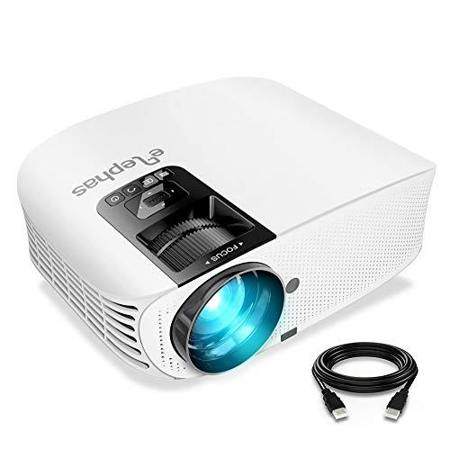 Proyector ELEPHAS, Proyector de video HD de 5500 lúmenes Proyector de cine LCD para cine en casa de 200 '' Full HD 1080p HDMI VGA Av USB Ideal para entretenimiento en el hogar Juegos de fiesta, Blanco