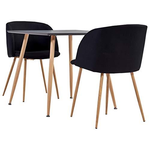 vidaXL Juego de Comedor 3 Piezas Set Conjunto de Muebles Asientos Sillas Sofás Mesa Decoración de Cocina Salón Sala Casa Hogar Interior Tela Negro