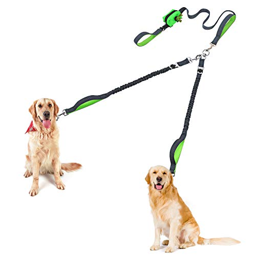 Rision Dual Dog Leash Multifunctional Double Dog Leash Pet Car Safe Belt, No Tangle - Strong Dog Rope Leash with Shock Absorbing Bungee Leashes and Poop Bags Dispenser for Two Medium Large Dogs