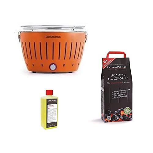 LotusGrill – Nuevo modelo 2021 – Barbacoa naranja con pilas y cable de alimentación USB + 2,5 kg de carbón de haya + gel combustible inodoro para barbacoa – Bundle exclusivo Yeseatis.