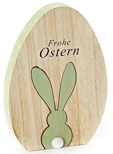 HEITMANN DECO Osterei aus Holz - Deko-Ei mit Hase und Schriftzug Frohe Ostern - Dekofigur - Tischdeko für Ostern und Frühling - Natur/Grün