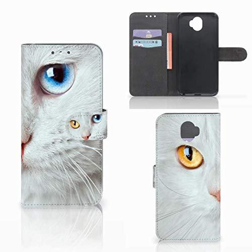 B2Ctelecom Schutzhülle kompatibel für Wiko Wim Lederhülle Weiße Katze - Personalisierung mit Ihrem Wunschnamen oder -tekst