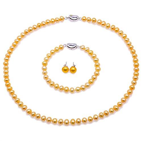 JYX Perlen Halskette Set Schmuckset Silber 925 Damen - 6-7mm AA Golden Flat Runde Süßwasser Perlenkette, Armband und Ohrstecker Set
