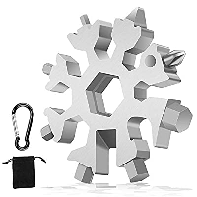 19 in 1 Snowflake Multi-Tool, Stainless Steel Snowflake Standard Multitool, Compact Portable Screwdriver Wrench with Key Ring for Outdoor/Travel/Camping/Daily Tool/Bottle Opener, Christmas Gifts